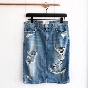 Current Elliott Stiletto Destroyed Denim Skirt